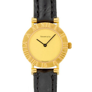 Tiffany TIFFANY & Co. Atlas K18 Yellow Gold Ladies Watch Automatic Champagne Dial L0630