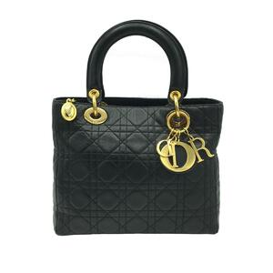 Christian Dior Christian Lady Ladies Handbag Gold Hardware Leather