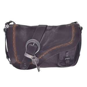 Christian Dior Gaucho Brown Silver Hardware Ladies Calf Shoulder Bag
