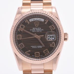 ROLEX ロレックス デイデイト  118235 メンズ RG 時計 自動巻き ブラウンウェーブ文字盤