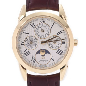 OMEGA Omega Louis Blanc Moonphase Triple Calendar Back Scale 5341.30.12 Men's Yellow Gold Leather Watch Automatic White Dial