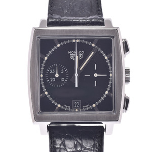 TAG HEUER Monaco Chronograph CS2110.FC8119 Men's Stainless Steel Leather Watch Automatic Black Dial