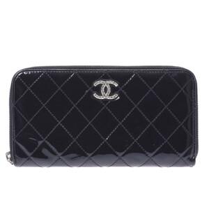 シャネル(Chanel) CHANEL シャネル マトラッセ ブリリアント ラウンドファスナー長財布 黒 シルバー金具 レディース エナメル 長財布