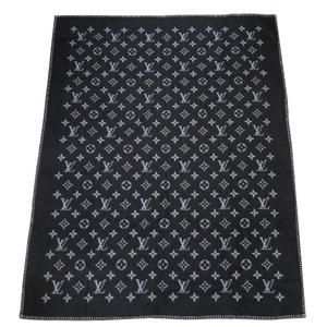 Louis Vuitton Querture Monogram Eclipse M76032 Wool Cashmere Classic Blanket Black