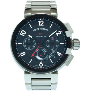 Louis Vuitton Tambour Chronograph GMT Evolution Q1052 Self-winding Watch Stainless Steel Black Dial Men's