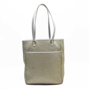 Christian Dior Shoulder Bag Tote Trotter White Gold Canvas Leather