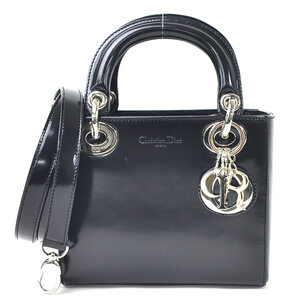 Christian Dior Handbag Shoulder Bag 2Way Mini Black Leather Silver Hardware Ladies