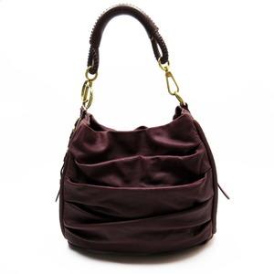 Christian Dior Shoulder Bag Dark Purple Gold Leather