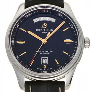 Breitling Premier Day-Date Men's Watch A45340 Stainless Steel Black Dial