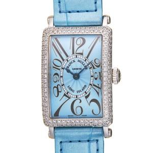 Franck Muller Long Island Diamond Ladies Watch 900 QZ D 750 White Gold Blue Arabian Dial