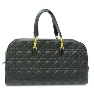 Christian Dior Lady Mini Boston Ladies Handbag Leather Black