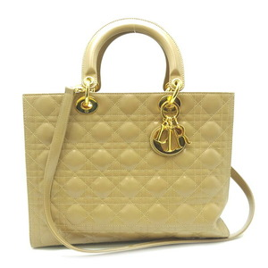 Christian Dior Lady 2Way Bag Ladies Handbag CAL44560 Leather Beige