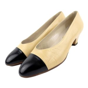 Chanel Vintage Leather Heel Pumps Women's Beige Black 6 Bicolor