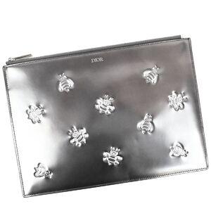 Christian Dior Dior Men KAWS BEE Cowes Bee Clutch Bag Men's Silver