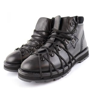 Moncler Mountain Boots Mens Black 39 Logo Vibram Sole Suede Lace-up Leather