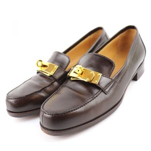 Hermes Kelly Loafers Ladies Brown 34 Leather Shoes Slip-on Gold Hardware