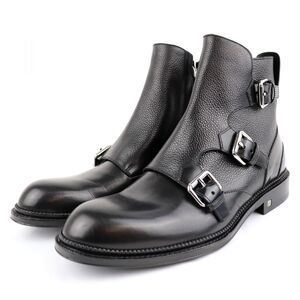 Louis Vuitton 15AW Defender Line Monk Strap Leather Ankle Boots Mens Black 5 Side Zip Grain