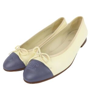 Chanel Coco Mark Leather Flat Pumps Women's Cream Light Blue 37C Ribbon Stitch Bicolor