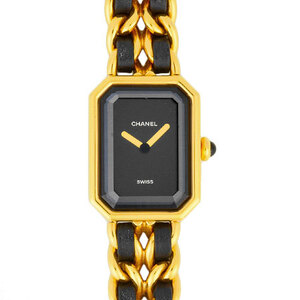 Chanel CHANEL Premiere L size Ladies Watch Quartz Gold Plated Black Dial H0001