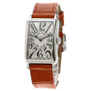 Franck Muller 902QZ Long Island Watch Stainless Steel Leather Ladies