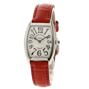 Franck Muller 1752BQZ Tonow Carbex Watch Stainless Steel Leather Ladies