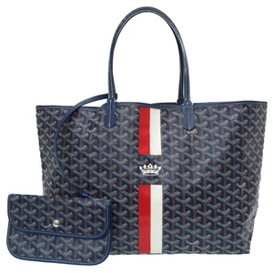 Goyard Saint Louis PM Marcage Crown Tote Bag PVC Coated Canvas Navy