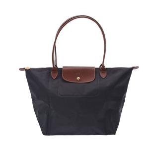 Longchamp Le Pliage L Long Gray Brown Gold Hardware L1899089300 Ladies Nylon Leather Tote Bag