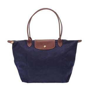 Longchamp Le Pliage L Long Navy Brown Gold Hardware L1899089556 Ladies Nylon Leather Tote Bag