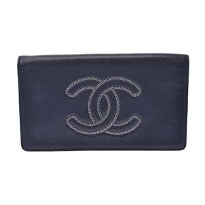 CHANEL bi-fold wallet black ladies calf