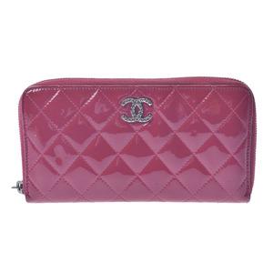 CHANEL Chanel Matrasse Round Zipper Wallet Pink Ladies Enamel