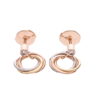 CARTIER Cartier Trinity 1P Diamond Three Color Ladies K18 Yellow Gold Pink White Earrings