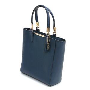 COACH Coach 2WAY Mini Tote Handbag 29001 Blue Navy Grain Leather