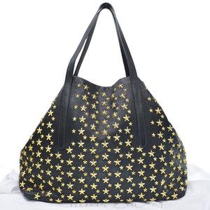Jimmy Choo Bag Star Studs Black Gold Leather Shoulder Tote Ladies