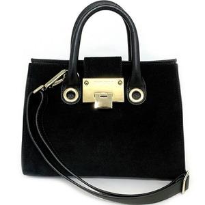 Jimmy Choo Riley S Black Gold Hardware 2way Bag Leather Suede Handbag Women's Vintage Tote