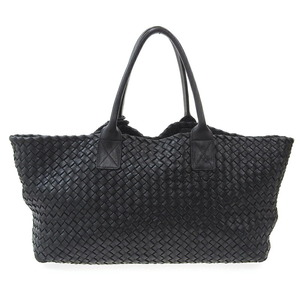 BOTTEGA VENETA Intrecciato Cabas MM Shoulder Bag Leather Black