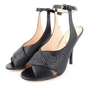 Fendi Quilted Logo Leather Heel Sandals Womens Black 37 Ankle Strap 2017