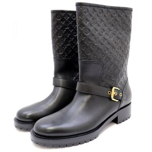 Louis Vuitton 13AW Monogram Embossed Leather Boots Women's 38 Black Levelion Line