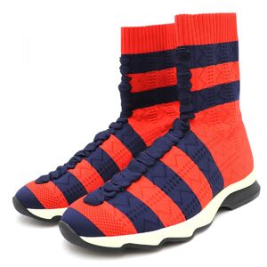 Fendi Border Socks Sneakers Womens 40 Red Navy Lace-up Design