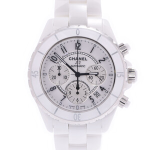 CHANEL J12 41mm Chrono H1007 Men's White Ceramic Stainless Steel Watch Automatic Dial