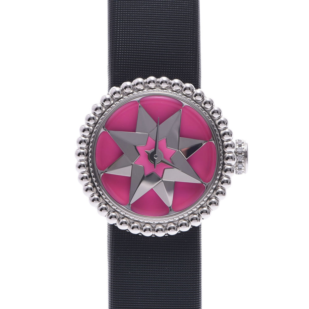 Christian Dior Rose Devan Ladies Watch Stainless Steel Satin Quartz Pink Dial
