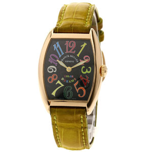 Franck Muller 7502QZ Tonow Carbex Watch K18 Pink Gold Leather Mens
