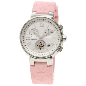 Louis Vuitton Q8G00 Tambour MoonStar Chronograph Watch Stainless Steel Rubber Ladies