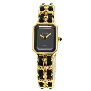 Chanel Premiere L Watch Gold Plating Leather Ladies