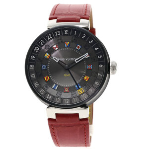 Louis Vuitton QA097 Tambour Moon Dual Time GMT Watch Stainless Steel Leather Mens