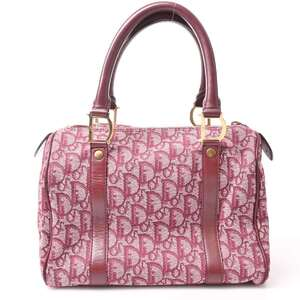 Christian Dior Trotter Canvas Boston Bag Red