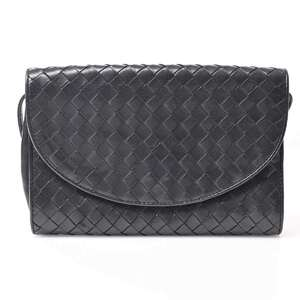 Bottega Veneta Leather Intrecciato Shoulder Bag Black