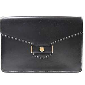 Christian Dior calf leather vintage chain shoulder bag black