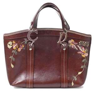 Christian Dior Flower Embroidery Tote Bag Brown Leather