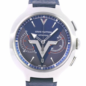LOUIS VUITTON Louis Vuitton Vayager 37JEWELS Q7D60 Stainless Steel Leather Navy TL2670 Self-winding Men's Dial Watch