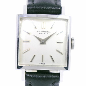 IWC International Watch Company Square Stainless Steel Leather Manual Winding Ladies Silver Dial